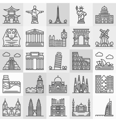Travel landmarks icons vector image vector image