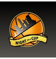 basketball logo night cup vector image