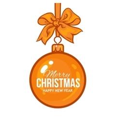 Christmas balls with gold ribbon and bows vector image vector image