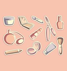 cosmetics stickers vector image vector image