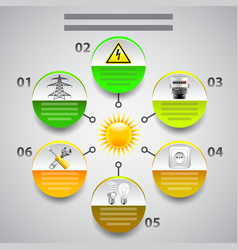 Electricity infographics Arrows with tools in vector image vector image