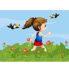 A girl walking at the garden with birds vector
