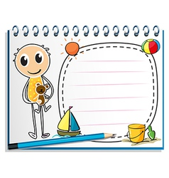 A notebook with an image of a boy holding a toy vector image