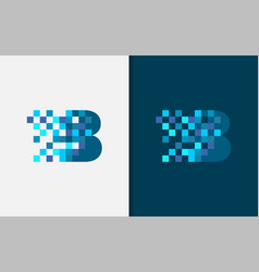 Abstract digital letter b logo design vector