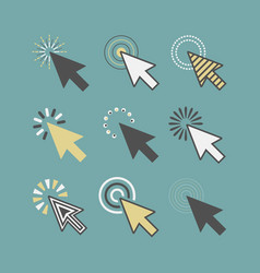 Abstract funky active click cursor pointers icons vector