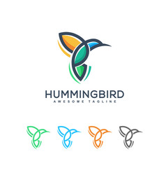 abstract humming bird design template vector image