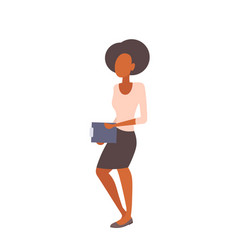 african american businesswoman holding clipboard vector image