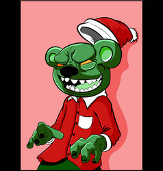 Alien zombie bear with green skin in a christmas h vector