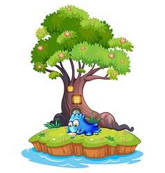 An island with a blue monster writing vector image