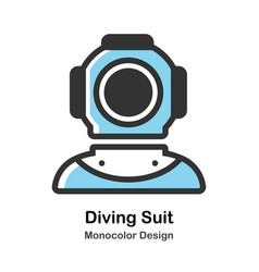 Ancient diving suit monocolor vector