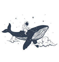 Astronaut and whale in clouds vector