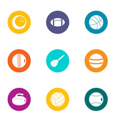 Ball tip icons set flat style vector