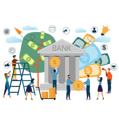 bank building with saving concept infographics vector image