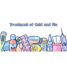 Banner with medicines and medical objects vector