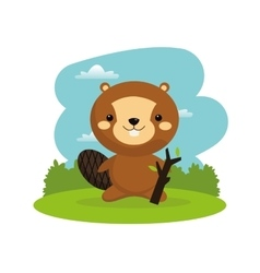 Beaver cartoon icon Woodland animal vector