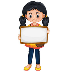 Blank sign template with cute girl on white vector
