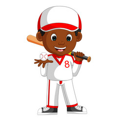 Boy baseball player vector