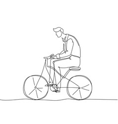 boy riding a bicycle - one continuous line design vector image