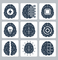 Brain and cognitive function related icon set vector