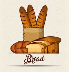 Bread baguette in paper bag toasts croissant vector