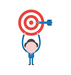 Businessman character holding up bulls eye and vector