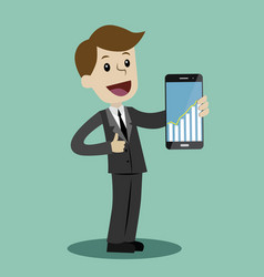 businessman hold a smartphone with chart graphs on vector image