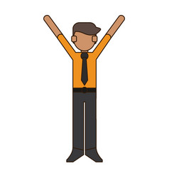 businessman with hands up vector image