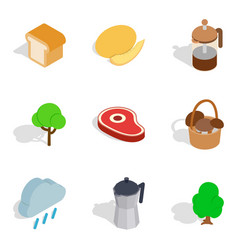 Camp food icons set isometric style vector