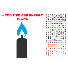 candle icon with bonus energy set vector image