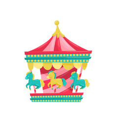 Carnival carousel with horses funfair attraction vector