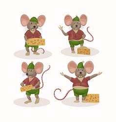 Cartoon christmas mouse set vector