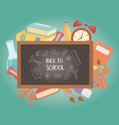 chalkboard and supplies back to school vector image