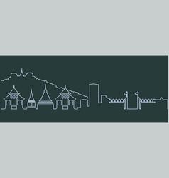 Chiang mai single line skyline vector