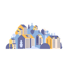 city landscape minimal residential houses in vector image