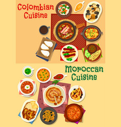 Colombian and moroccan cuisine icon set design vector