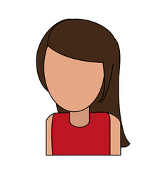 Color image cartoon faceless half body woman with vector