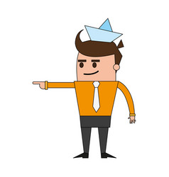 Color image cartoon man leader business with paper vector