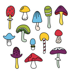 Colorful isolated mushroom hand draw black outline vector
