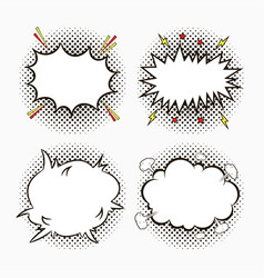 comic pop art speech bubbles on halftone dots vector image