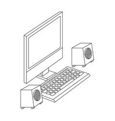 computer desktop with speakers vector image