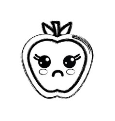 Contour kawaii cute surprised apple fruit vector