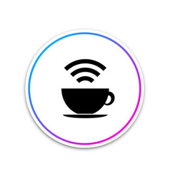 cup of coffee shop with free wi-fi zone icon vector image