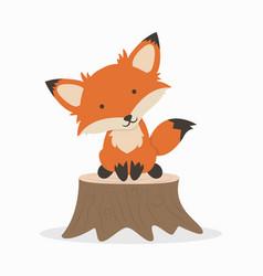 cute fox cartoon on timber vector image