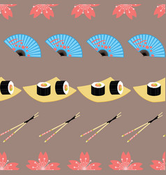 Cute japanese food and elements inspired seamless vector