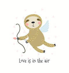 Cute sloth valentines day card vector