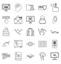 Cybernetics icons set outline style vector