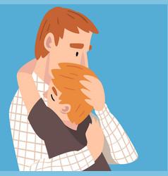 Daddy and son s hugs cartoon vector