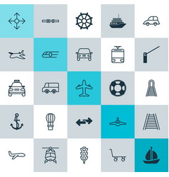Delivery icons set collection of metro roadblock vector