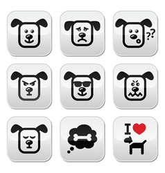 Dog buttons set - happy sad angry isolated on wh vector image