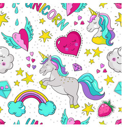Doodle unicorn pattern seamless summer print vector